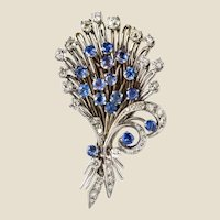 French 1950s Sapphire Diamond Platinum White Gold Bouquet Brooch