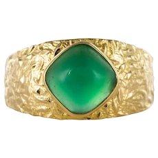 1970s Green Agate 18 Karat Yellow Gold Bangle Ring