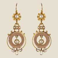 French 19th Century Natural Pearl 18 Karat Rose Gold Dangle Earrings