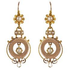 French 19th Century Natural Pearl 18 Karat Rose Gold Dangle Earrings