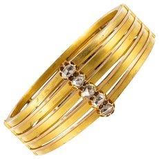 19th Century Rosecut Diamonds Matte Yellow Gold Bangle Bracelet