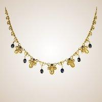 French 19th Century Sapphire 18 Karat Yellow Gold Drapery Necklace
