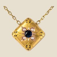 19th Century Sapphire Natural Pearl 18 Karat Yellow Gold Chain Pendant