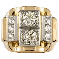 1940s Retro 2.30 Carat Diamonds 18 Karat Yellow Gold Platinum Tank Ring