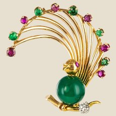 1950s French Ruby Emerald Chrysoprase Diamond 18 Karat Yellow Gold Bird Brooch