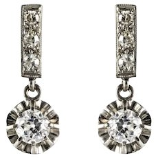 French 1920s Diamond Platinum 18 Karat White Gold Dangle Earrings