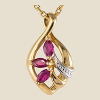 Modern Ruby 18 Karat Yellow Gold Pendant and Chain
