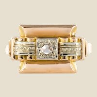 1940s Retro Rose Cut Diamond 18 Karat Yellow Gold Tank Ring