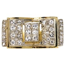 1930s Diamonds 18 Karat Yellow Gold Tank Style Ring
