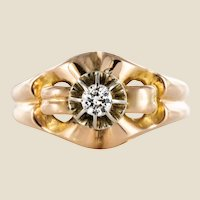 1950s Retro Diamond 18 Karat Yellow Gold Ring