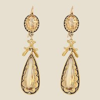 French 19th Century Citrine Black Enamel 18 Karat Yellow Gold Dangle Earrings