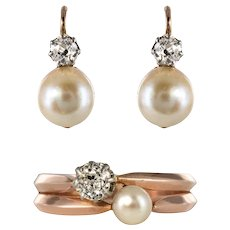 19th Century French Diamond Natural Pearl Earrings and Ring Set