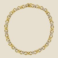 Modern French 18 Karat Yellow White Gold Caplain Link Necklace