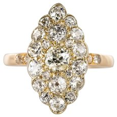 Antique 1.80 Carat Diamonds 18 Karat Yellow White Gold Marquise Ring