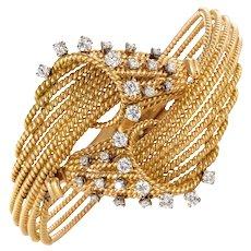 French 1950s Diamonds Platinum 18 Karat Yellow Gold Thread Bracelet