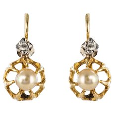 French 19th Century Natural Pearls Diamonds 18 Karat Gold Sleepers Earrings