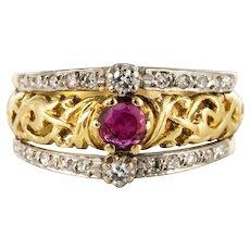 20th Century Ruby Diamonds 18 Karat Yellow White Gold Band Ring