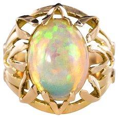 1960s 4.05 Carat Opal 18 Carat Yellow Gold Retro Ring
