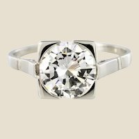 1930s Art Deco 1.78 Carat Diamond 18 Karat Platinum Solitary Ring
