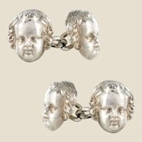 French 19th Century Sterling Silver Cherub Cufflinks