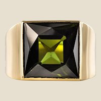 French 1935s 7.50 Carat Tourmaline 18 Karat Yellow Gold Signet Ring