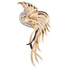 1950s Retro Diamonds Ruby 18 Karat Yellow Gold Bird of Paradise Brooch