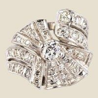 1950s Diamond Platinum Asymmetrical Cocktail Ring