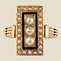 19th Century Napoleon 3 Black Enamel Natural Pearls Ring