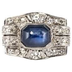 Art Deco 4.30 Carat Cabochon Sapphire Diamonds Platinum Ring