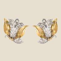 1950s Retro Diamonds 18 Karat Yellow White Gold Flower Shape Earrings