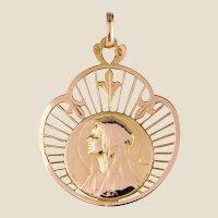 French 19th Century 18 Karat Rose Gold Haloed Virgin Medal