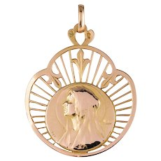 French 19th Century 18 Karat Rose Gold Haloed Virgin Medal