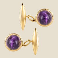 French 20th Century Amethyst 18 Karat Yellow Gold Cufflinks