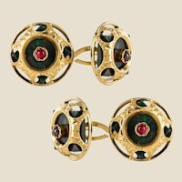 19th Century Blood Jasper Ruby 18 Karat Yellow Gold Cufflinks