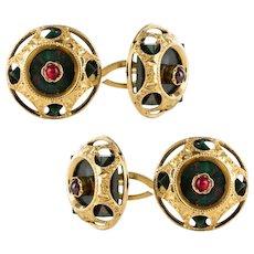 19th Century Blood Jasper Ruby 18 Karat Yellow Gold Cufflinks