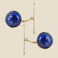 1920s Lapis Lazuli 18 Karat Yellow Gold Cufflinks