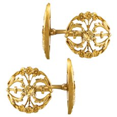 French 1890s Art Nouveau 18 Karat Yellow Gold Cufflinks