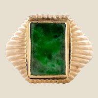 1960s Jade 18 Karat Rose Gold Unisex Signet Ring