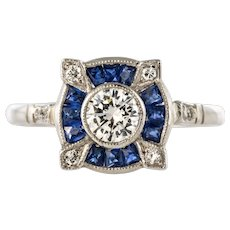 1925s Art Deco Calibrated Sapphires Diamonds Ring