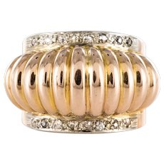 1950s Diamond Lines 18 Karat Rose Gold Retro Gadroons Ring