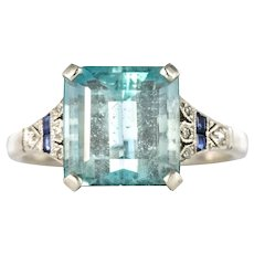 1925 Art Deco 3.50 Carat Aquamarine Diamonds Sapphires Platinum Ring
