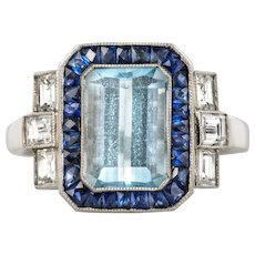 1925s Art Deco 2 Carat Aquamarine Diamonds Calibrated Sapphires Platinum Ring