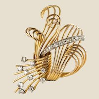 1950s French 1.25 Carat Diamonds Platinum 18 Karat Yellow Gold Retro Brooch
