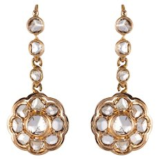 20th Century Rose-Cut Diamonds 18 Karat Rose Gold Dangle Earrings