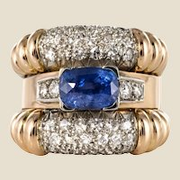 1940s French Sapphire Diamonds Gadroon Tank Ring