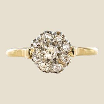 French 19th Century Rose Cut Diamonds 18 Karat Yellow Gold Flower Shape Ring