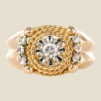 1950s Retro Diamond 18 Karat Yellow Gold Cord Ring