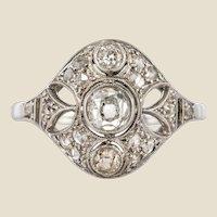 1920s Art Deco Diamond 18 Karat White Gold Ring
