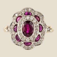 French Ruby Diamonds 18 Karat Yellow Gold Cluster Ring