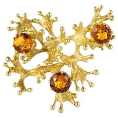 1960s Orange Garnets 14 Karat Yellow Gold Retro Brooch